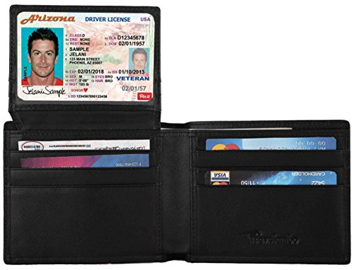 Travelambo Genuine Leather RFID Blocking Wallets Mens Wallet Bifold (black)