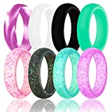 DoerDo Silicone Wedding Ring For Women By, Durable Rubber Sport Band For Active Style – 6 Rings Pack For Sale