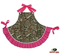 Child Mossy Oak Camo Hunter Apron with Pink Ruffles - Apron Kitchen Accessory