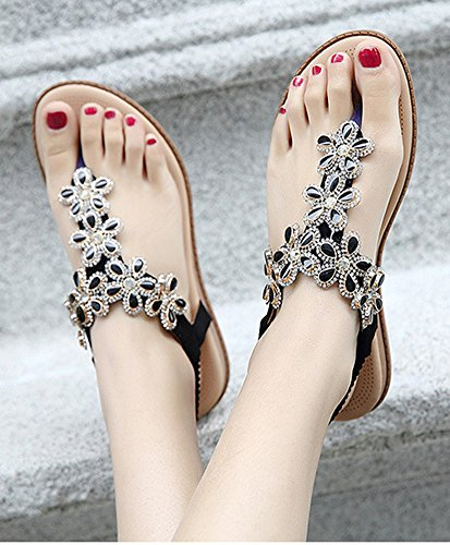 Sandales Strass Femmes Fleurs Noir Aisun Mode Plates wqO6AxzX