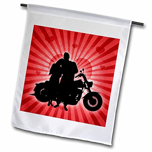 (3dRose fl_101818_1 Motorcycle Love with The Silhouette of a Couple and a Heart Background Garden Flag, 12 by 18-Inch)