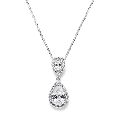 Amazon mariell pear shaped cubic zirconia teardrop bridal mariell pear shaped cubic zirconia teardrop bridal necklace pendant platinum plated wedding jewelry aloadofball Image collections