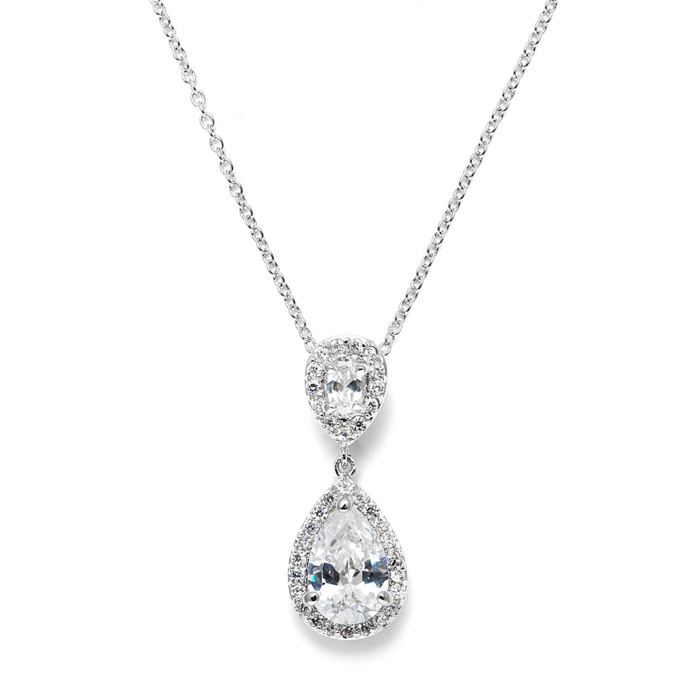 Mariell Pear-Shaped Cubic Zirconia Teardrop Bridal Necklace Pendant - Platinum Plated Wedding Jewelry