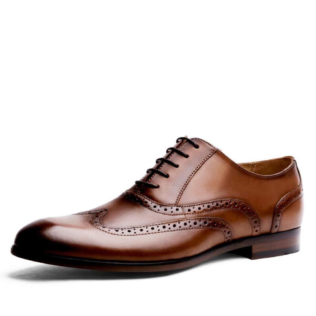 Zxcvb Lederschuhe Brock Geschnitzte Herrenschuhe High-End-Gentleman Schuhe handgemachte Rub Farbe Handwerk große Größe Herrenschuhe