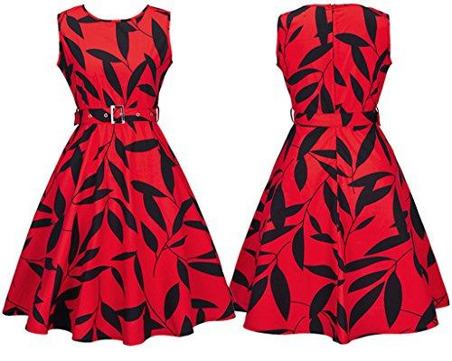Dreagel Courtes Vintage Des Années 1950 Robes Robe De Cocktail Rouge Imprimé Floral Pour Les Femmes D