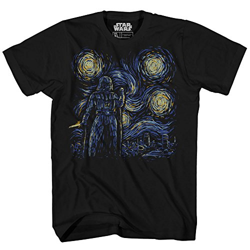 Starry Night Darth Vader Van Gogh Adult Men's Graphic Tee Apparel T-Shirt (Black, XX-Large)