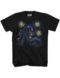 Starry Night Darth Vader Chewbacca Han Solo Luke Yoda R2-D2 C-3PO Van Gogh Adult Men's Graphic Tee T-Shirt Black