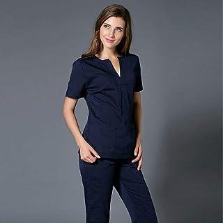 OPPP Abbigliamento medico Vestito Femminile della Spazzola di Medico della chirurgia plastica della Farmacia Medica di Bellezza a Maniche Corte del Vestito Femminile