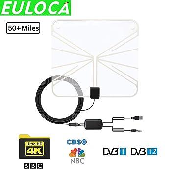 Antena de TV para Interior de Largo Alcance 60 + Millas amplificada HD Digital TV Aerial Signal Booster versión Mejorada con Cable coaxial de 16.4 pies para ...