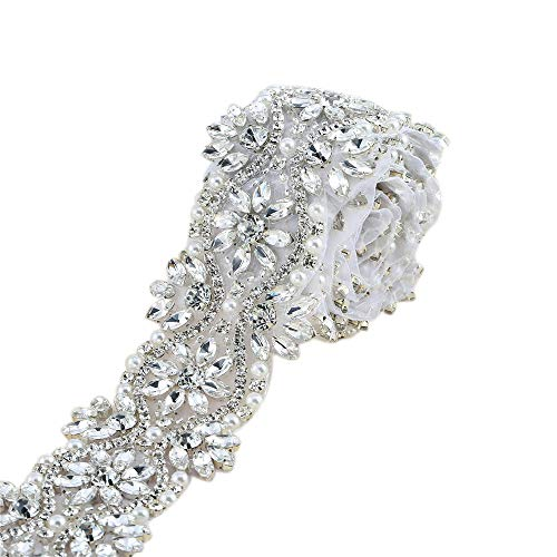 Wide Rhinestone Beaded Trim Plus Size Formal Dress Belt Applique Trimming 1 yard Crystal Bridal Wedding Sash Bridesmaid Gown Applique with Jeweled Diamond Embellishments Sew Iron on for Clothes from XINFANGXIU
