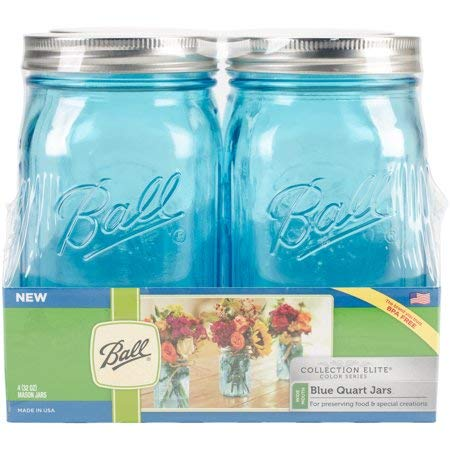 Ball (R) Wide Mouth Canning Jars 4/pkg-Quart - Elite Color Series Blue
