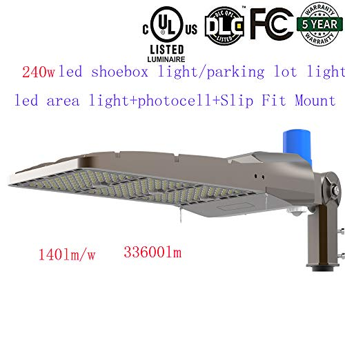 (SDYK,Dimmable 240w Led Parking lot Light/led Area Light,5700K,33,600LM (Higher Than 200w led parkinglot Light, 1000W Eq), AC100-277V, Free Photocell and Slip Fit Mount,IP6 UL DLC 5 Years Warranty)