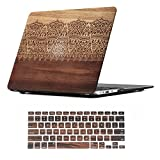 11 inch macbook air cool cases - iCasso 2 in 1 Macbook Air 11 Inch Case Rubber Coated Plastic Cover For Macbook Air 11 Inch Model A1370/A1465 With Keyboard Cover (Wood Lace)