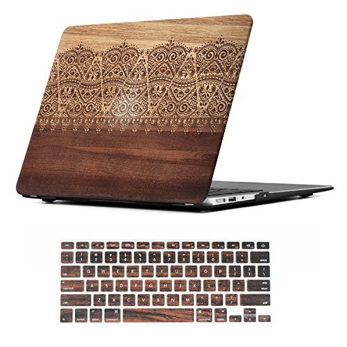 Rubber Case (iCasso 2 in 1 Macbook Air 11 Inch Case Rubber Coated Plastic Cover For Macbook Air 11 Inch Model A1370/A1465 With Keyboard Cover (Wood Lace))