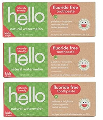 Hello Oral Care Kids Fluoride Free Toothpaste Natural Watermelon 4.2 Oz (Pack Of 3)