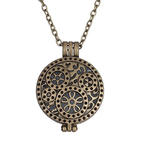 Dazzle Flash retro style brass wheels of time lockets glowing necklace - Flash Retro