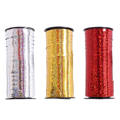 Toyvian 3 Rolls Shiny Balloon Ribbon Curling Ribbon Roll Metallic String Craft Ribbon for Wrapping Gift - 100 Yard Per Roll (Golden+Silver+Red) -
