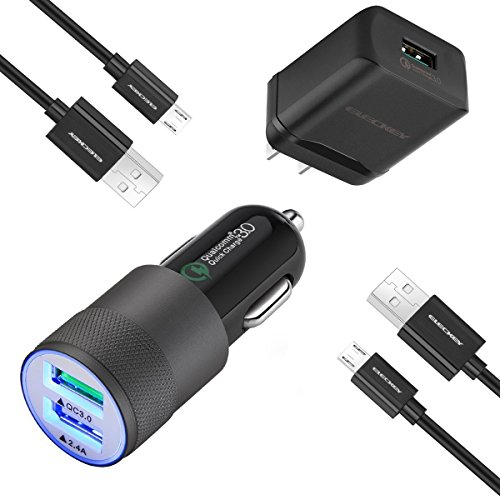 Price comparison product image Fast Car Charger Kit for Samsung Galaxy S7/S7 Edge, S6/S6 Edge/Note 5 and More, Car Charger + Wall Charger + 2 Pcs 3.3ft Micro-USB Cord