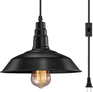 FadimiKoo Plug in Pendant Light E26 E27 Industrial Hanging Pendant Lights Vintage Hanging Light Fixture with 13.12ft Cord On/Off Switch 1 Pack