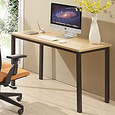 "CUBOC 47"" Large Size Modern Computer Desk Long Office Desk Writing Desk, Workstation Table for Home Office, Beech - 47""L x 23.7''H wide desktop provide enough space to keep a computer, laptop and scatter things around Clean, minimalist design with an open-air style gives your office or home office a sleek, contemporary look 0.98"" thick desktop is waterproof and anti- scratch, assuring you that maintaining it in excellent condition will be a piece of cake - writing-desks, living-room-furniture, living-room - 51CwaOoIqiL. SS400  -"