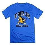Agongda Men NCAA University Of California UCSC Banana Slugs Logo T-shirt XXL RoyalBlue