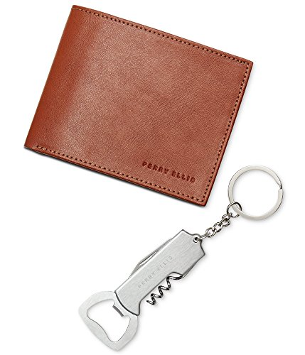 Perry Ellis Mens Oil Passcase Bifold Wallet Brown One Size