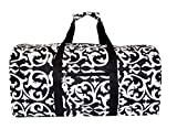 Cheap 21 in Print Duffle, Overnight, Carry on Bag with Outside Pocket and Shoulder Strap (Black Damask)
