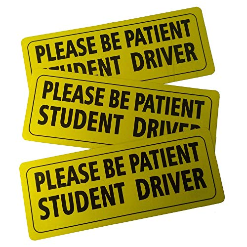 Set of 3 Please Be Patient Student Driver Safety Sign Vehicle Bumper Magnet - Reflective Vehicle Car Sign Sticker Bumper Drivers