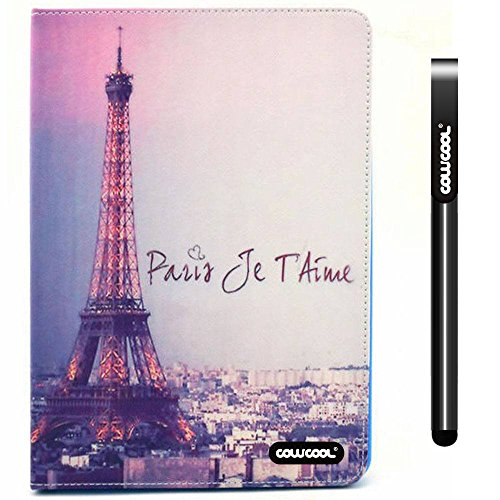 CowCool iPad Air2 Case, PU Leather Wallet Stand Case for Apple iPad Air2 [iPad 6] The Eiffel Tower with Paris Je Taime Stand Kickstand Hand Stitching Case Cove (Style5)