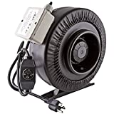 "6 high cfm duct fan - Apollo Horticulture 6"" Inch 440 CFM Inline Duct Fan with Built In Variable Speed Controller"