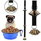 PETWOOO Dog Bell - Pet Dog Cat Bells for Potty Training Dog Door bells for Dog Training and Housebreaking Doggy Door Jingle Bell with One Collapsible Travel Pet Cat Dog Bowl (1 bell and 1 bowl)