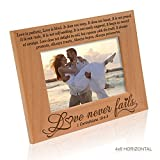 Kate Posh - Love Never Fails - 1 Corinthians 13:4-8 - Wood Picture Frame (4x6-Horizontal)
