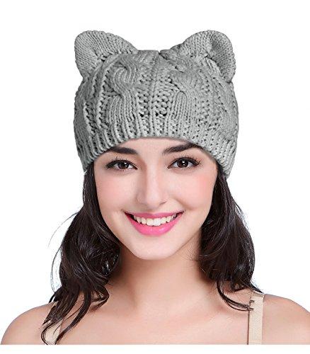 V28 Women Men Girls Boys Teens Cute Cat Ear Knit Cable Rib Hat Cap Beanie Kittenear Grey Medium