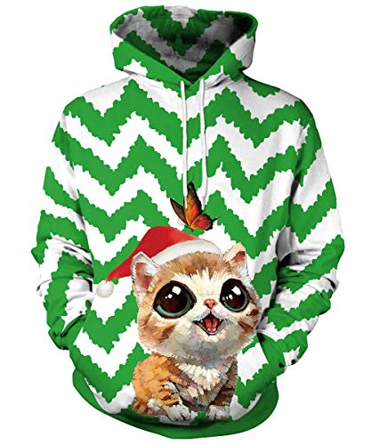 Butterfly Hooded Pullover - GLUDEAR Unisex 3D Ugly Christmas Pattern Pullover Novelty Hoodies Sweatshirt Outwear,Butterfly & Cat,S/M