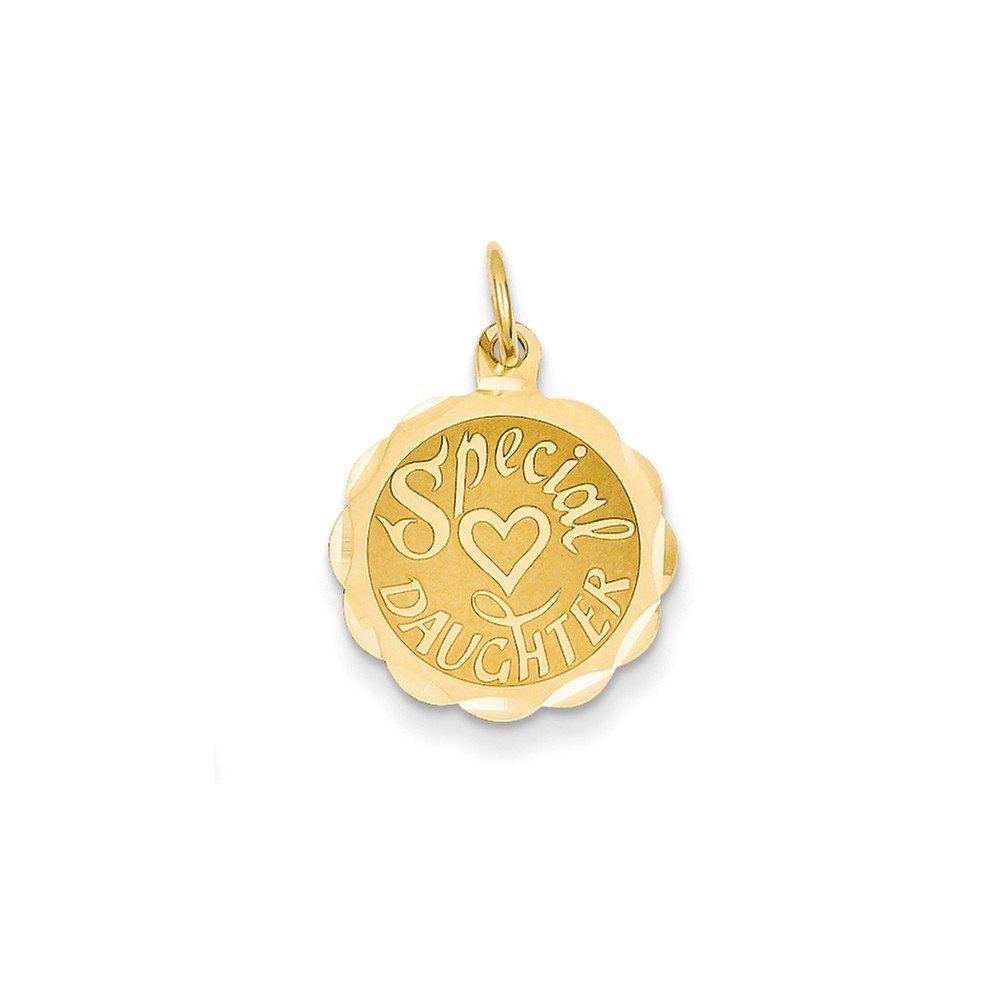 14k Yellow Gold Solid Polished Flat back Engravable Special Daughter Charm Measures 19.9x15.4mm