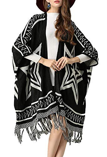 Nite closet Long Poncho Style Fringe Cardigan Wool Punk Rock Star (Star)