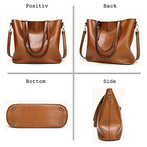Women Coffee Bucket Strap Shoulder Handbag Tote Long Dark Coolives Brown gdFWa6zng