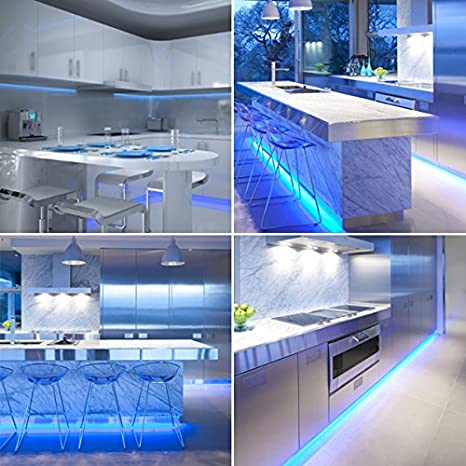 Azul LED luz de tira para cocinas, bajo iluminación del gabinete, TV ...