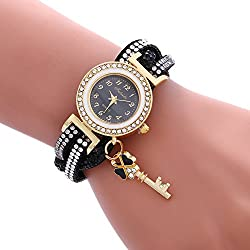 COOKI Womens Bracelet Watches Clearance Ladies Watches Female Watches on Sale Cheap Leather Watches-Q7 (Black)