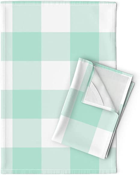 Roostery Tea Towels Lattice Plaid Shabby Chic Aqua Mint Check Turquoise Picnic Baby Nursery Gingham Print Linen Cotton Tea Towels Set Of 2 Home Kitchen