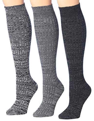 Tipi Toe Women's 3-Pairs Ribbed Cable Knee High Wool-Blend Boot Socks, (sock size 9-11) Fits shoe size 6-9, WK02-D (Ribbed Wool Blend)