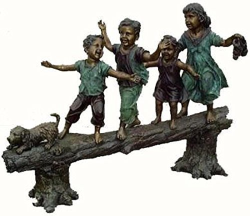 Jumbo Sculptures - 4 Little Kids Walking on a log with Dog Lost Wax American Bronze Children Jumbo Garden Statue Sculpture