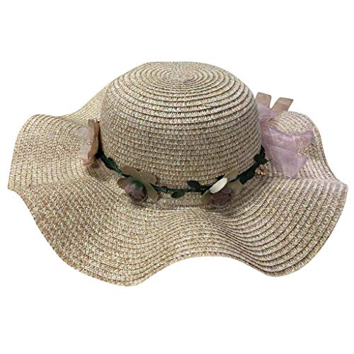 TANGSen Women Big Wide Brim Straw Hat Colorful Flower Summer Beach Sun Foldable Cap Fashion Sun Hat Khaki