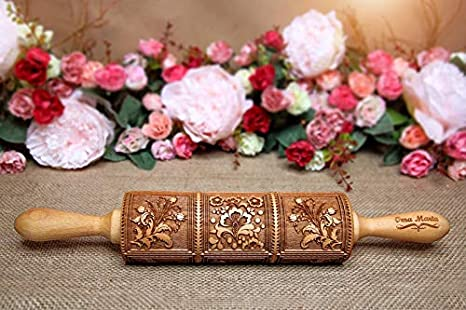 Roses Springerle Wooden Rolling Pin Laser Engraved Rolling Embossed Cutter