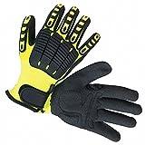 Back Tracker Gloves, High-Visibility Nylon with Antislip Coating Palm Material, Green/Black, 12 PK