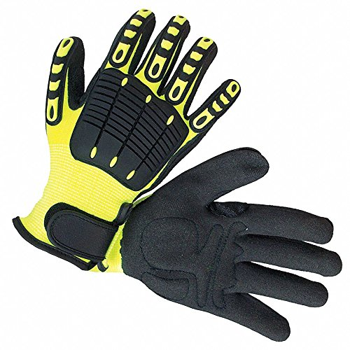 Back Tracker Gloves, High-Visibility Nylon with Antislip Coating Palm Material, Green/Black, 12 PK by Impacto (Image #1)