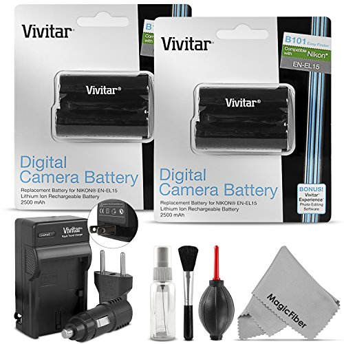 EN-EL15 EN-EL15A Vivitar Battery and Charger Set for Nikon D