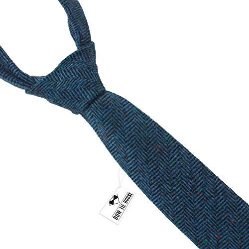 Wool necktie | Blue Wool Tie | Narrow blue necktie | Dark blue Slim necktie | Skinny blue tie | Tweed necktie (Blue Tweed Wool)