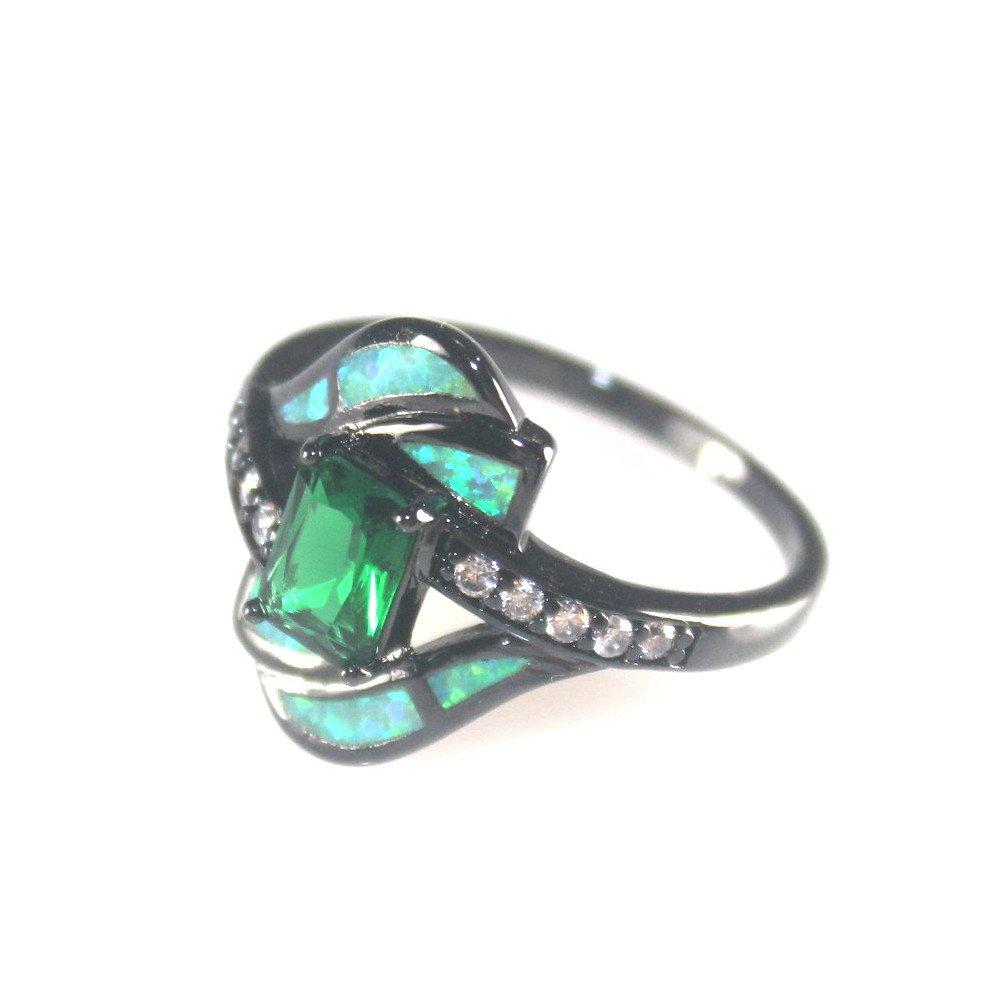 SilverstoneTX BLACK SILVER Elegant Green Fire Opal & Green Peridot Ring Size 8