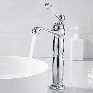 NZDY Faucet Tall Sink Single Handle Water Taps Bathroom Antique Silver Tap Kitchen Garden Decorative Bibcock